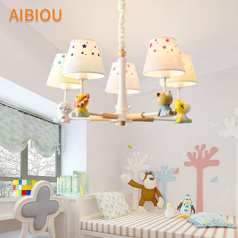 AIBIOU Cartoon Chandelier With Fabric Lampshade For Children Cute Hanging Lights Boys Room Lustre Girls Suspension Luminaire
