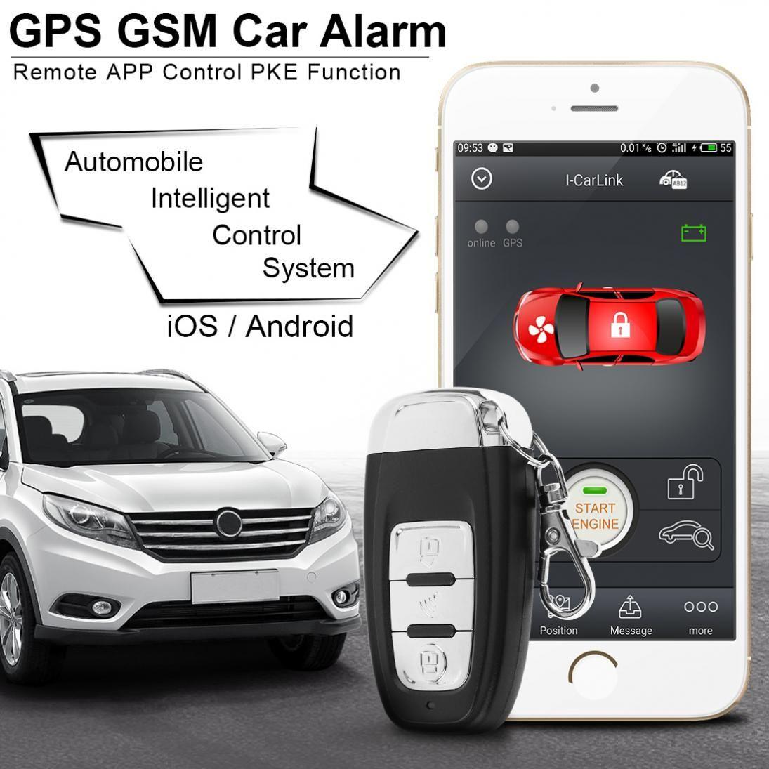 PKE Smartphone Starten Auto Smart Alarm Remote Beginn Start Stop Motor System mit Auto Zentralen Schloss und Vibration Alarm