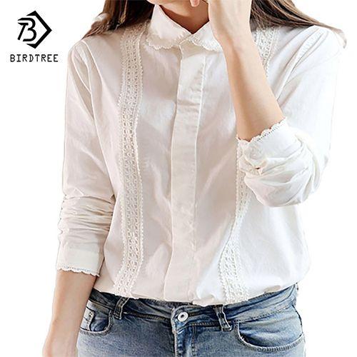 Chemisier blanc femmes travail porter coton dentelle broderie col rabattu manches longues hauts chemise S-XXL Blusas Femininas T55260