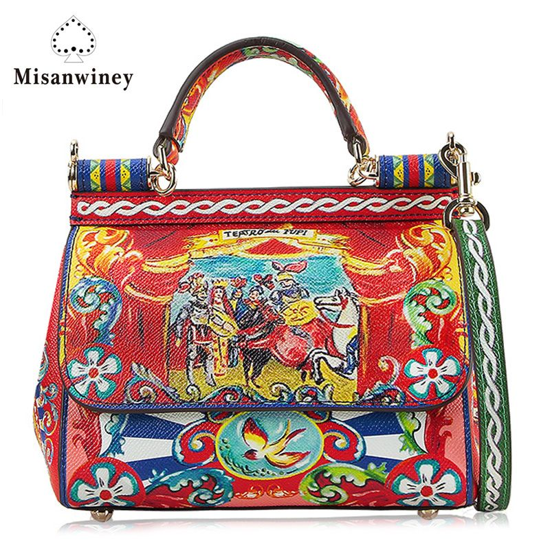 Misanwiney 2017 new prince Sicily handbags leather casual mobile printing platinum bag shoulder diagonal package female