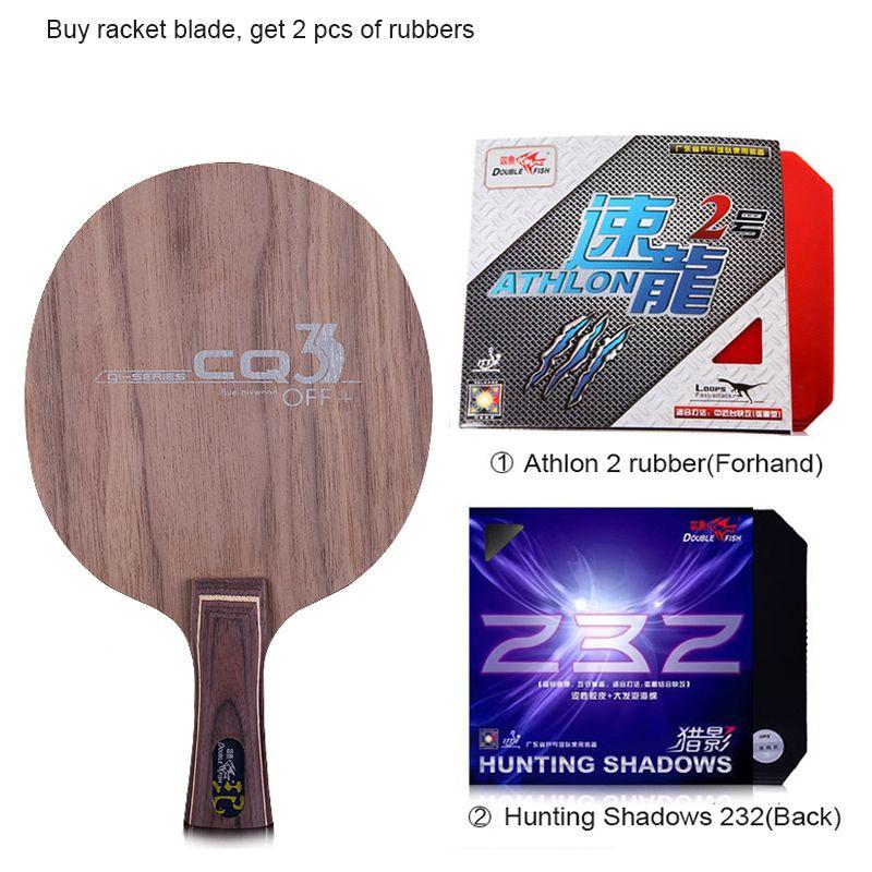 Double fish CQ3 7-SCHICHTIGE Ayous nussbaumholz dual kohlefaser offensive professionelle tischtennisschläger klinge paddle mit 2 gummis
