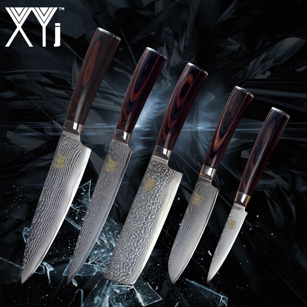 XYj Küche Damaskus Messer Set Neue Ankunft 2018 VG10 Damaskus Stahl Obst Santoku Hacken Chef Fleischmesser Farbe Holz Griff
