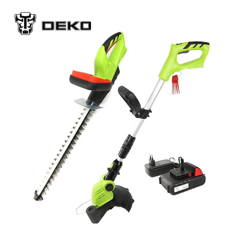 DEKO 2 in 1 20V Li-ion Battery Cordless Grass Trimmer & Cordless Hedge Trimmer Garden Tool Set