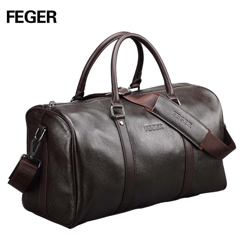 FEGER brand fashion extra large weekend duffel bag large genuine leather business men's <font><b>travel</b></font> bag popular design duffle