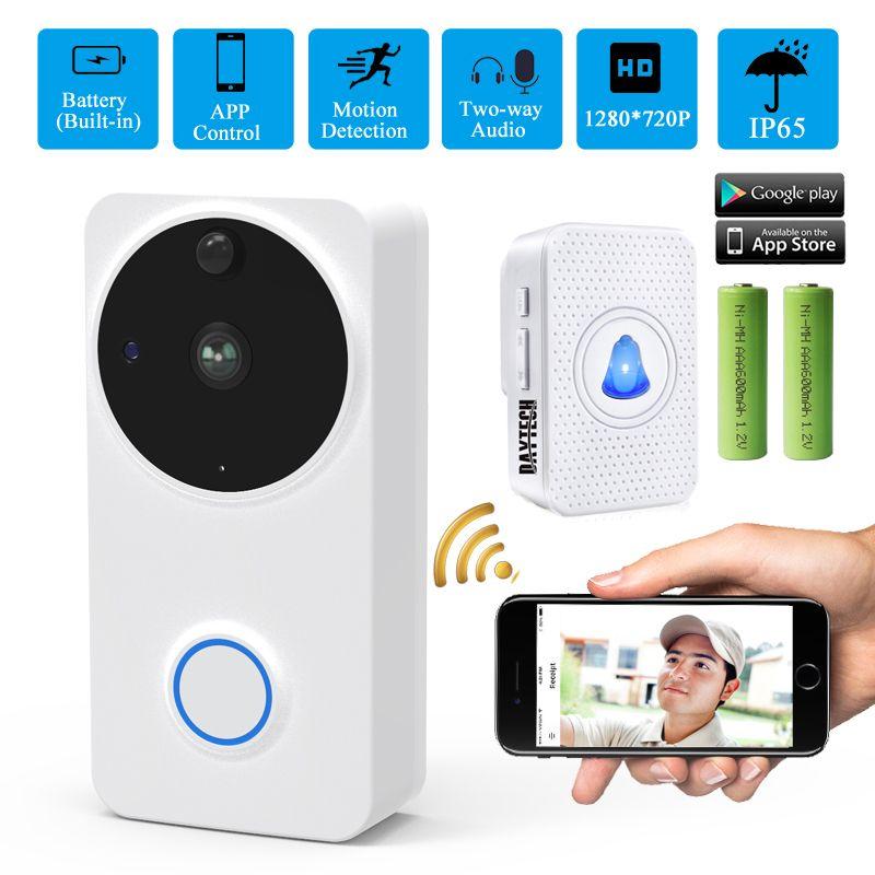 DAYTECH Wireless Video Camera Doorbell Intercom Door Phone Outdoor 720P WiFi Camera Battery IP65 Door Bell Alarm Home Security