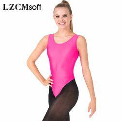 LZCMsoft wanita Sexy Tank Senam Baju Ketat Tari Balet Triko Spandex Lycra Tanpa Lengan Bodysuit Tahap Kinerja Tops