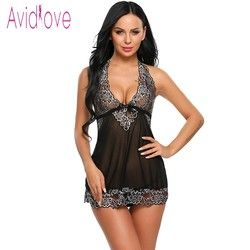 Avidlove Halter Encaje lencería sexy caliente erótica Ropa interior mujeres mini babydoll vestido de noche langeri negligee porno sexo traje