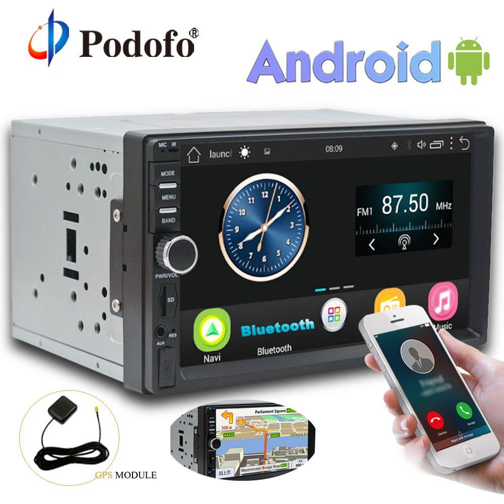 Podofo 2 Din Android Car Radio Stereo 7''Touch Screen GPS Navigation Audio Media Player Autoradio Wifi Bluetooth FM Radio No DVD