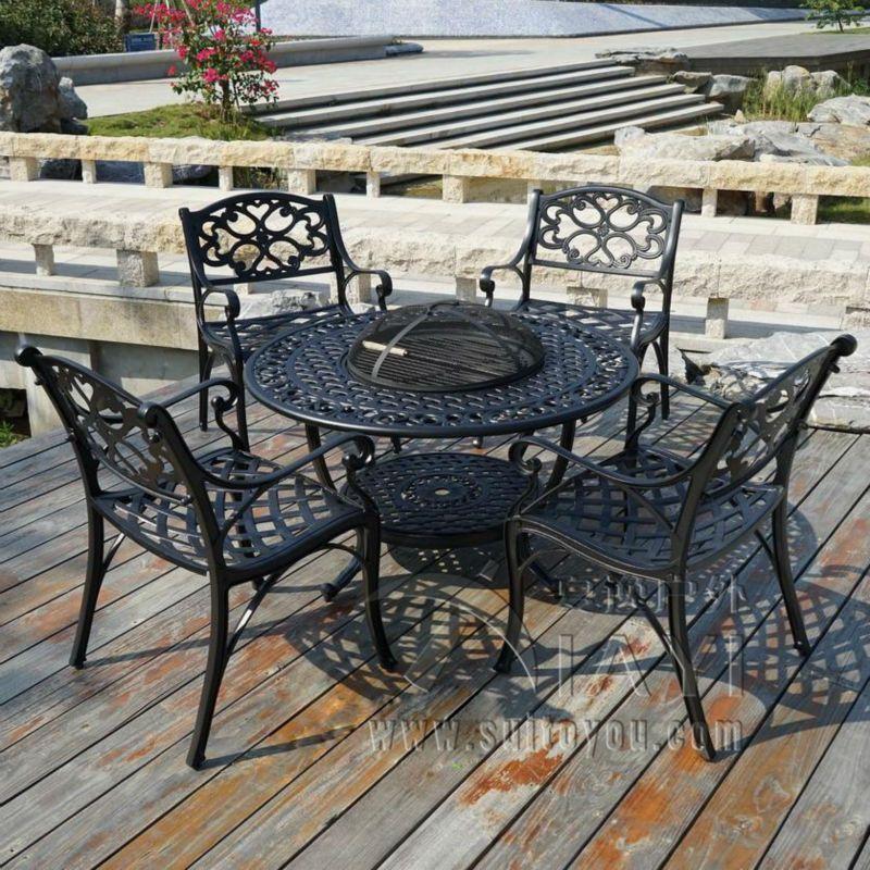 BBQ Garten/Terrasse Tisch und 4 Stuhl Set, Cast Aluminium fertig in Schwarz