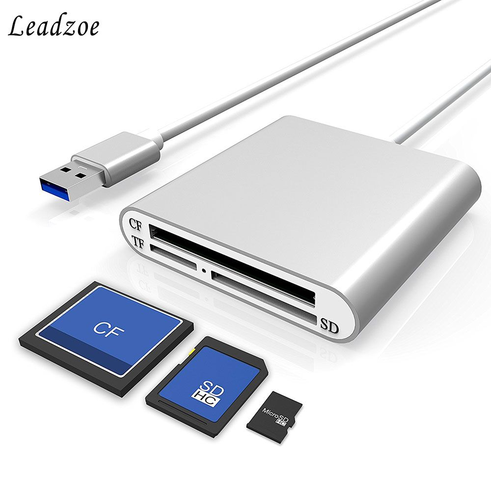 Leadzoe Aluminum USB 3.0 Portable Card Reader 3-Slot Flash Memory Card Reader for CF/SD/TF Micro SD/MD/MMC/SDHC/SDXC Flash Cards