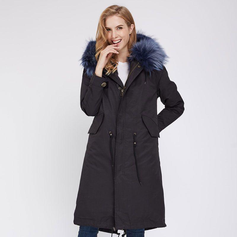 Aiyangsilan Long Real Fur Parka Coats Fur Parka Women Fashion Warm Sleeve Natural Raccoon Fur Parka Coats Solid Colorful Inner