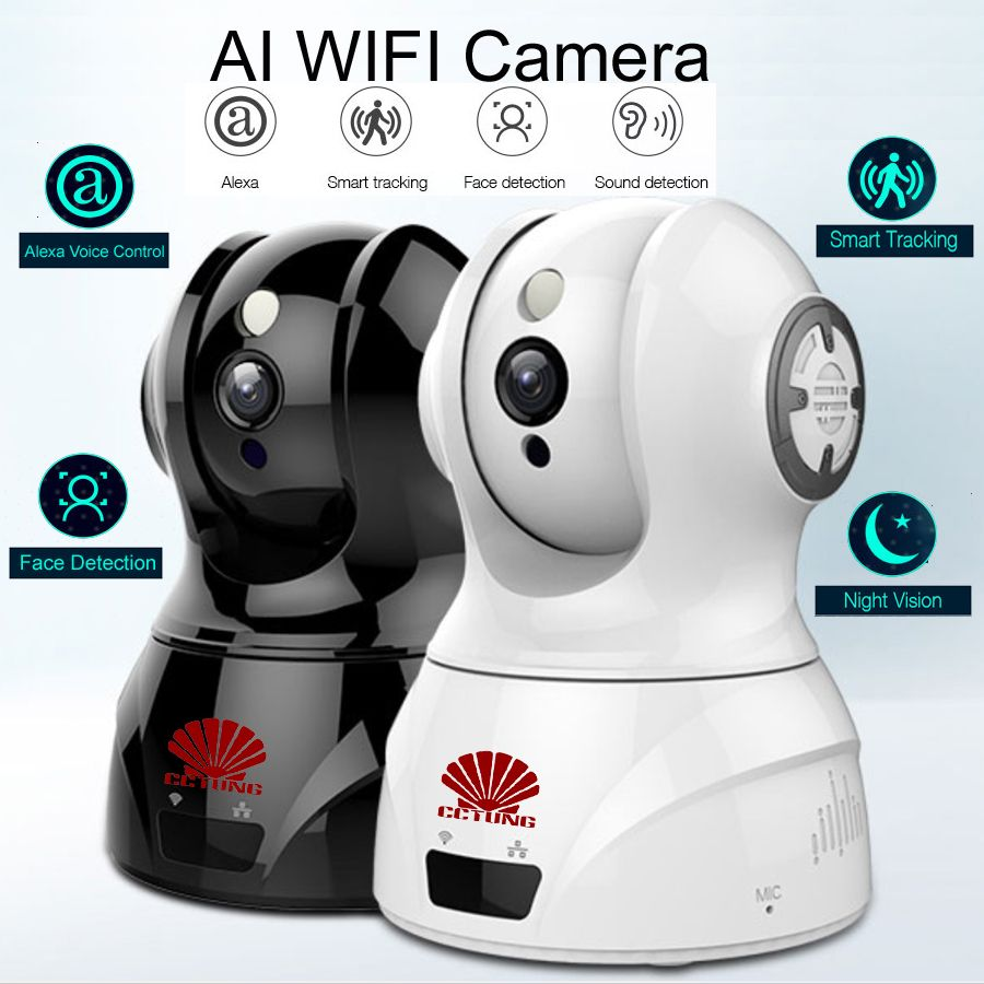 Smart WIFI PTZ FHD IP Cloud Camera with Alexa Voice Control Auto Smart Tracking Face Detection Sound Detection for Motion Alarm