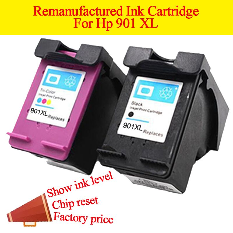 2pcs Remanufactured cartridge for HP 901 HP901 ink cartridge for HP Officejet 4500 J4500 J4540 J4550 J4580 J4640 J4680c printers