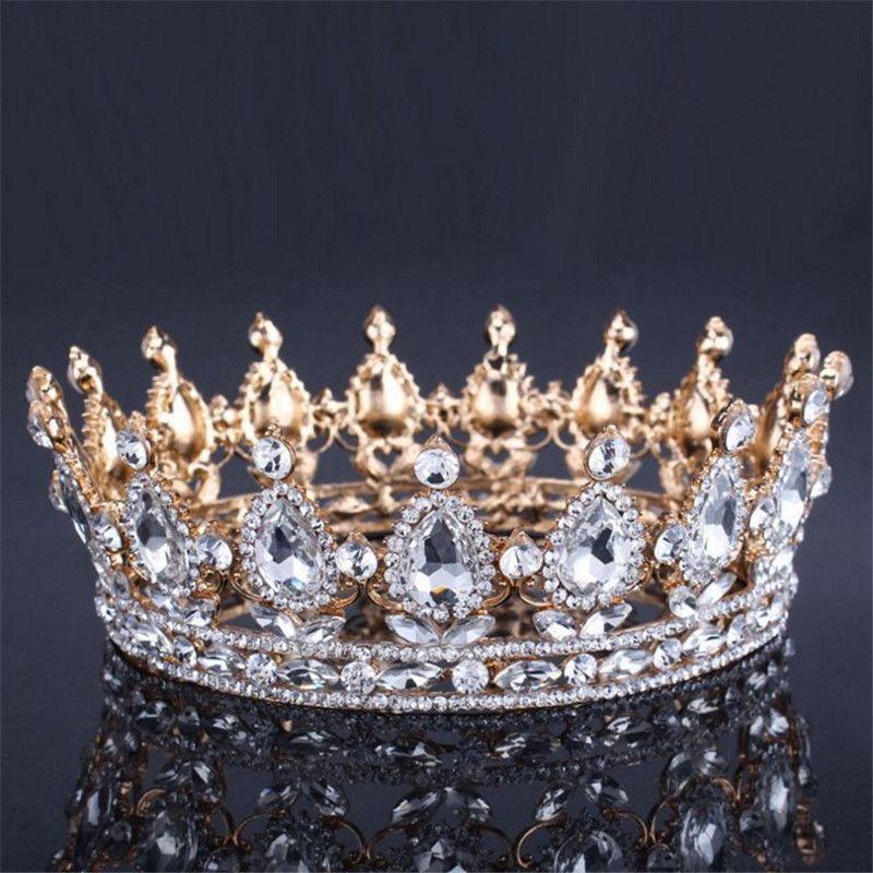 Vintage Baroque Reine Roi Mariée Couronne De Diadème Pour Femmes Coiffure De Bal De Mariée Diadèmes et Couronnes De Mariage Bijoux De Cheveux Accessoires