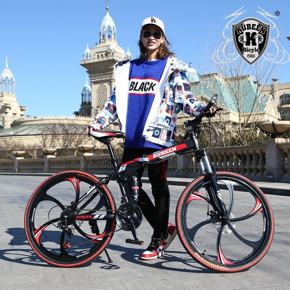 KUBEEN VTT vélos 21 vitesses en acier de 26 pouces freins à disque doubles vélos de route à vitesse variable vélo de course