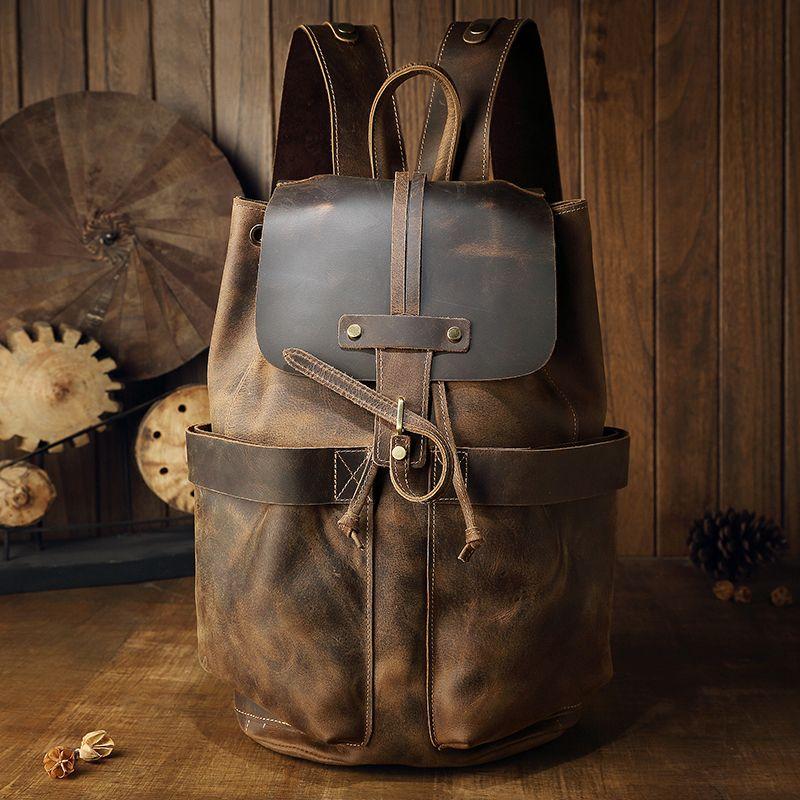 Große kapazität mann reisetasche handgemachte Öl Echtem Leder kordel eimer schulter tasche Daypack Männlichen bergsteigen rucksack