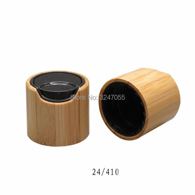 24/410 Bamboo Diac Top Caps for Cosmetic Bottles, Bamboo Black Pressed Lid for Beauty Makeup Bottle, Bamboo Cover Accessories