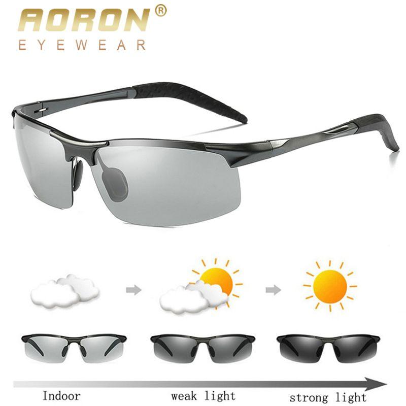 AORON hommes lunettes de soleil polarisées photochromiques cadre en aluminium lunettes de soleil lunettes pour homme Anti-éblouissement conduite lunettes