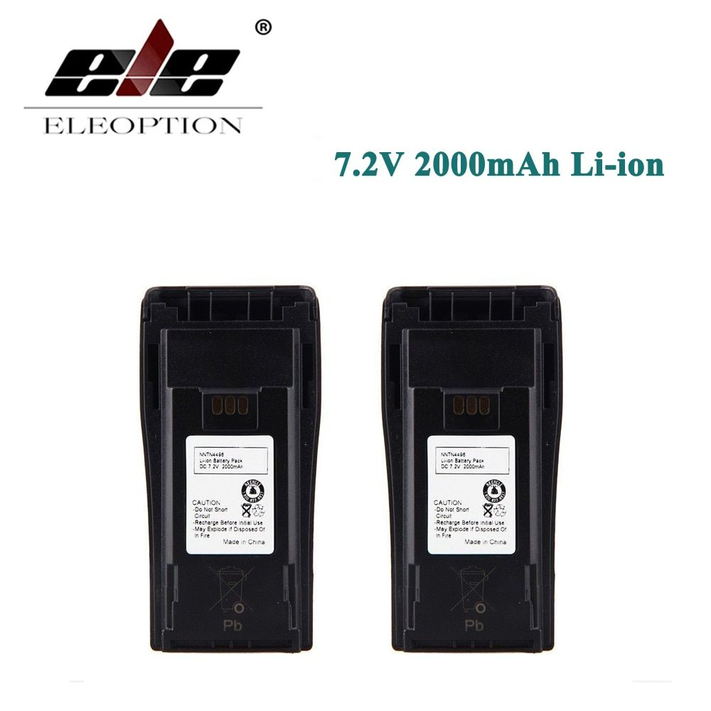 2 PCS Eleoption New 7.2V 2000mAh 2.0Ah Li-ion Battery for MOTOROLA NNTN4496 NNTN4851 NNTN4851R CP040 CP140
