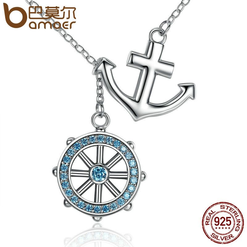 BAMOER 2017 New Collection 925 Sterling Silver Blue Anchor & Rudder Pendants & Necklaces Wedding Jewelry 45CM SCN049