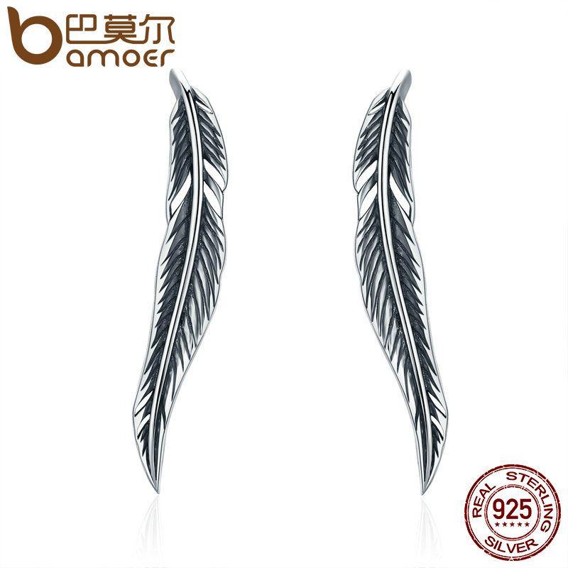 Bamoer auténtico 100% 925 plata esterlina plumas ala Pendientes de broche con blanco claro CZ para las mujeres aniversario joyería sce258