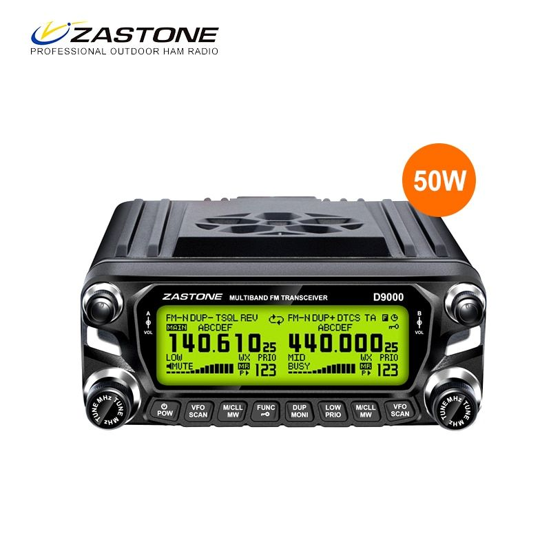 Zastone D9000 Walkie Talkie 50km Mobile Car Radio Station 50W Dual Band UHF VHF 136-174 400-520MHz 512CH Ham Transceiver 50 km