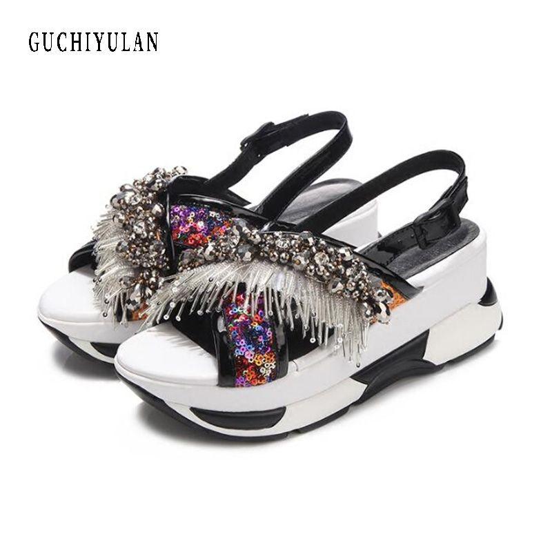 ladies summer rhinestone sandals Shoes Women Platform Wedge Gladiator Sandals sheepskin+Crystal Sequins High Heels Shoes Woman
