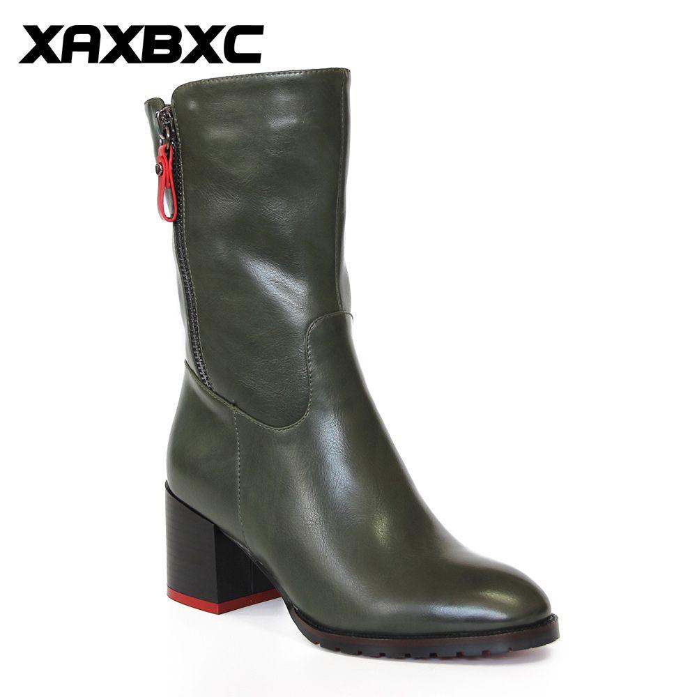XAXBXC Rétro Style Britannique En Cuir Brogues Oxford Vert Bottes Courtes Femmes Chaussures Talon Épais Pointu Orteil Main décontracté Dame Chaussure