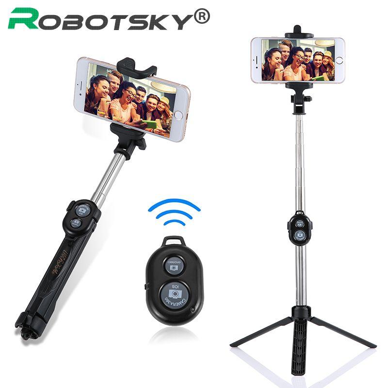 Erweiterbar Selbst Selfie Stick-Handheld Einbeinstativ + Bluetooth Auslöser Fernbedienung + Clip Halter für iPhone/Android Samsung HTC ect