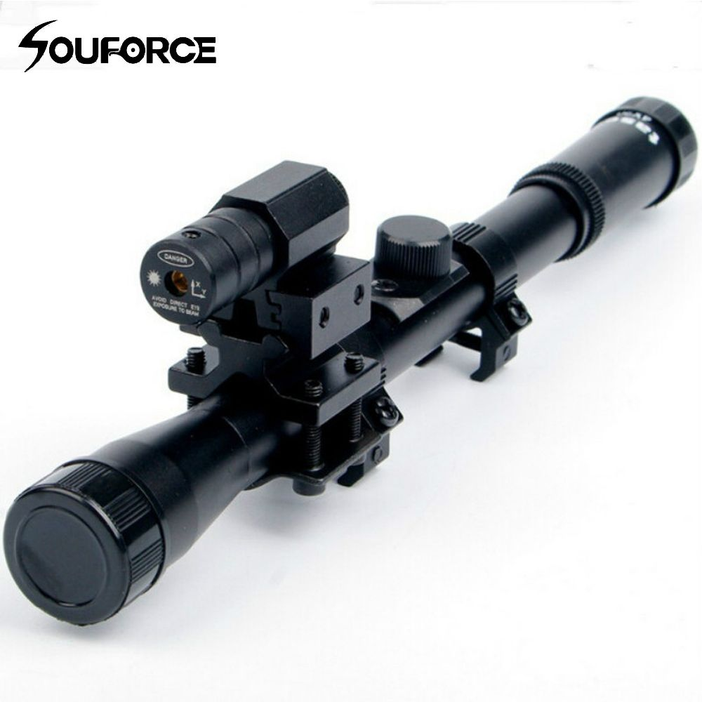 4x20 Air Gun Optics Scope with Red Laser Sight Combo of 11mm Mount for 22 Caliber Riflescope Crossbow Scope Airsoft Guns