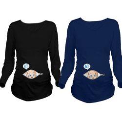 2017 Bande Dessinée Drôle Chemises De Maternité Grossesse À Manches Longues T-shirt Les Femmes Enceintes Automne Hiver De Base T-shirt Tops Z139