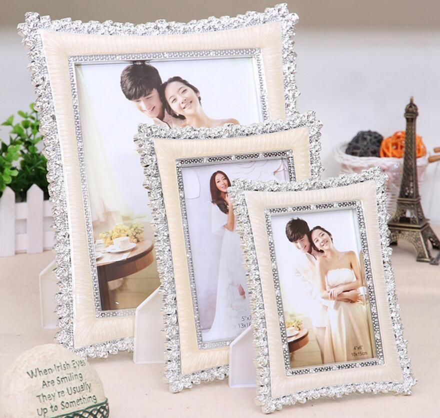 Haute qualité cadre photo classique Europea style de mariage cadre photo cadeau de mariage Saint Valentin Pendule cadre 17E13D50