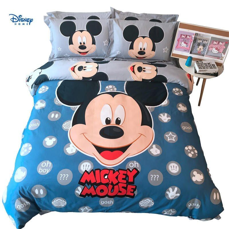 blue mickey mouse comforter bedding set twin size 100% cotton duvet cover queen bed sheet king coverlets bedspread king bedroom