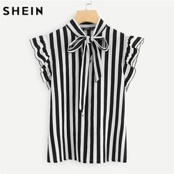 SHEIN Summer Top Elegant Work Women Blouses Cap Sleeve Black and White Tie Neck Butterfly Sleeve Workwear Striped Blouse