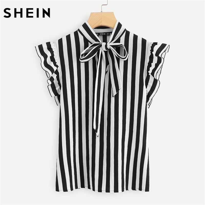 SHEIN Summer Top Elegant Work Women Blouses Cap Sleeve Black and White Tie Neck Butterfly Sleeve Striped Blouse
