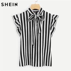 SHEIN verano Top elegante trabajo mujeres blusas manga casquillo blanco y negro Tie cuello mariposa manga Workwear blusa rayada