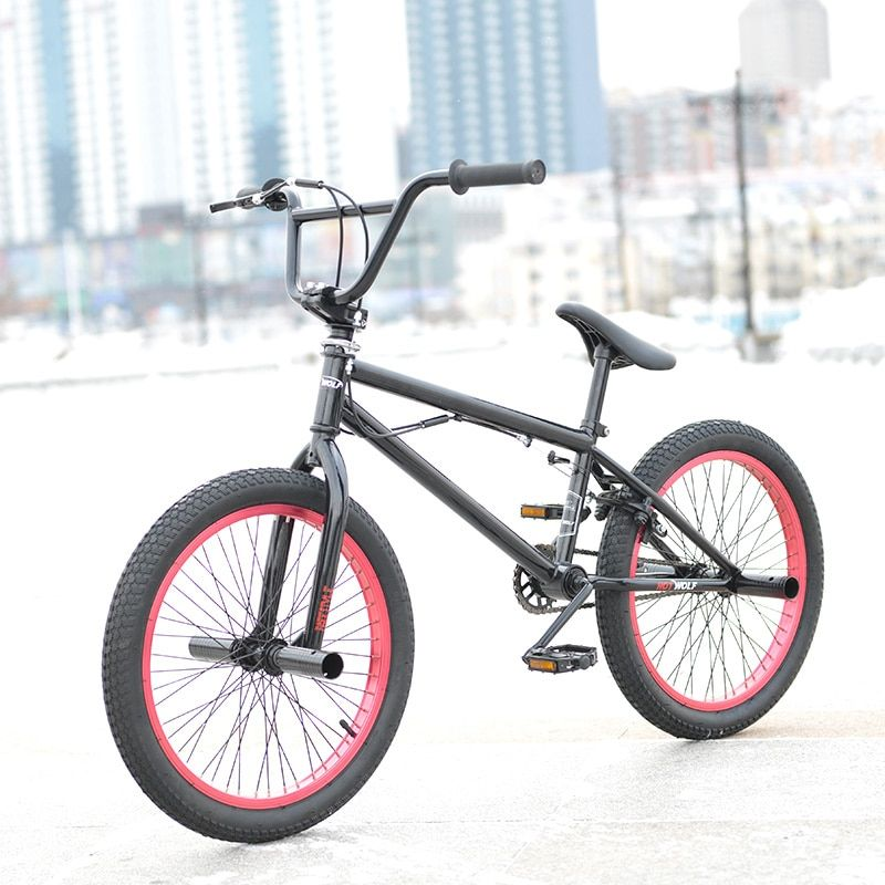 20 Inch BMX <font><b>bike</b></font> steel frame Performance <font><b>Bike</b></font> purple/red tire <font><b>bike</b></font> for show Stunt Acrobatic <font><b>Bike</b></font> rear Fancy street bicycle