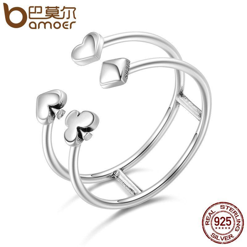 BAMOER 100% 925 Sterling Silver Poker Love Heart Geometric Open Finger Rings for Women Sterling Silver Jewelry Gift SCR132