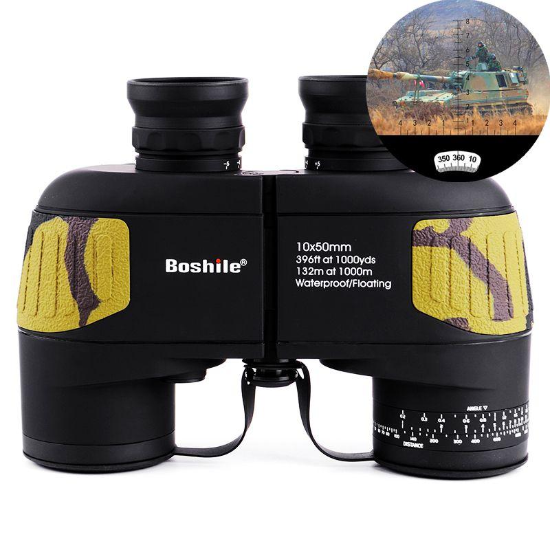 Boshile бинокль 10x50 телескопа со встроенным дальномер Военный бинокль HD High Times Водонепроницаемый для охоты