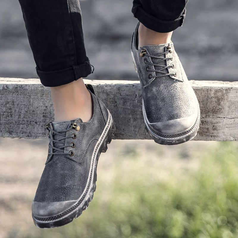 New high quality Outdoor Sports  shoes men retro British  shoes Real Leather breathable Dirty shoes retro trend plate shoes