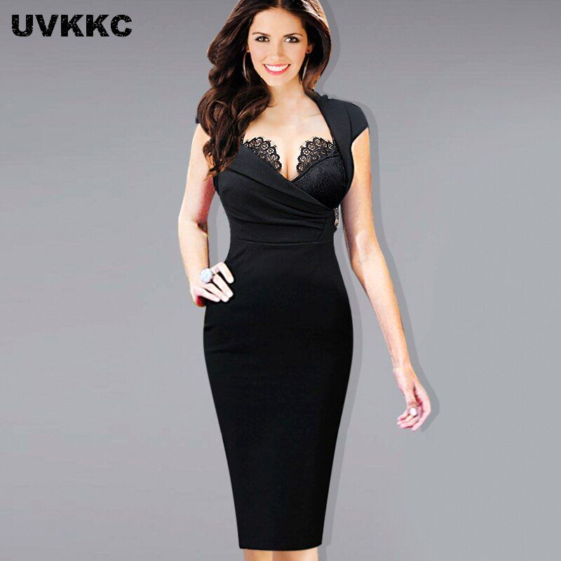 UVKKC Women Office Wear Hot Sexy Built-in Lace Bra Dress Stand Collar Bodycon Slim Zipper Ruched Party Sheath Bodycon Dress