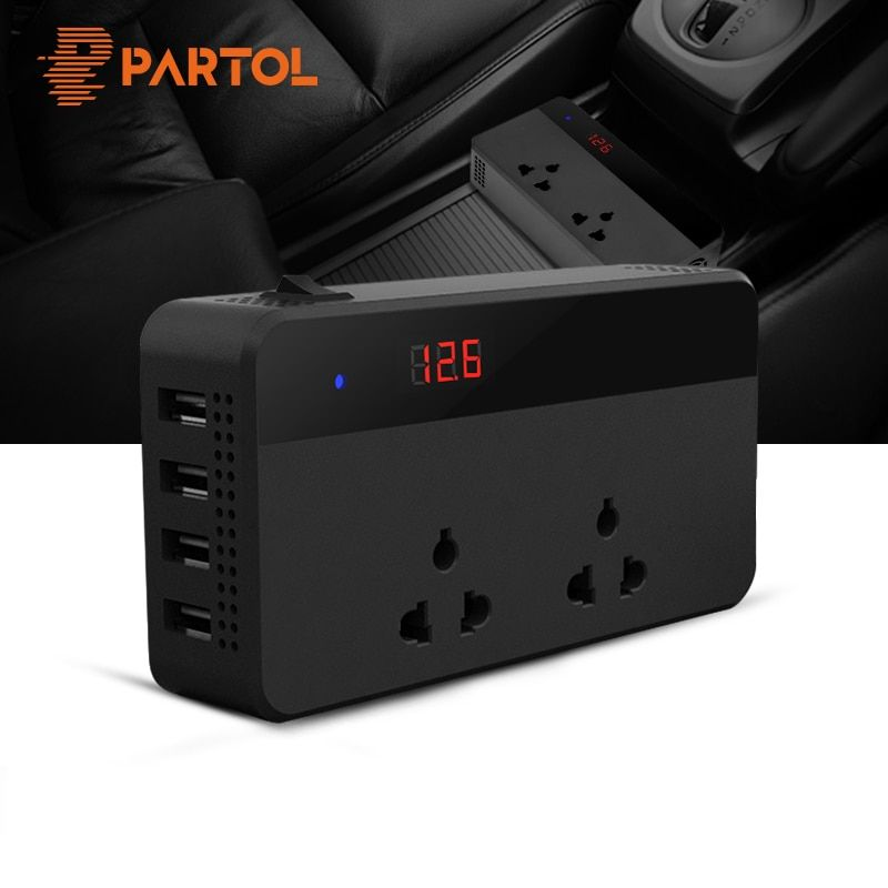 Partol Car Inverter 12V 220V 200W Power Inverter Voltage Converter With 4 USB Socket Charger Auto Cigarette Lighter Automobiles
