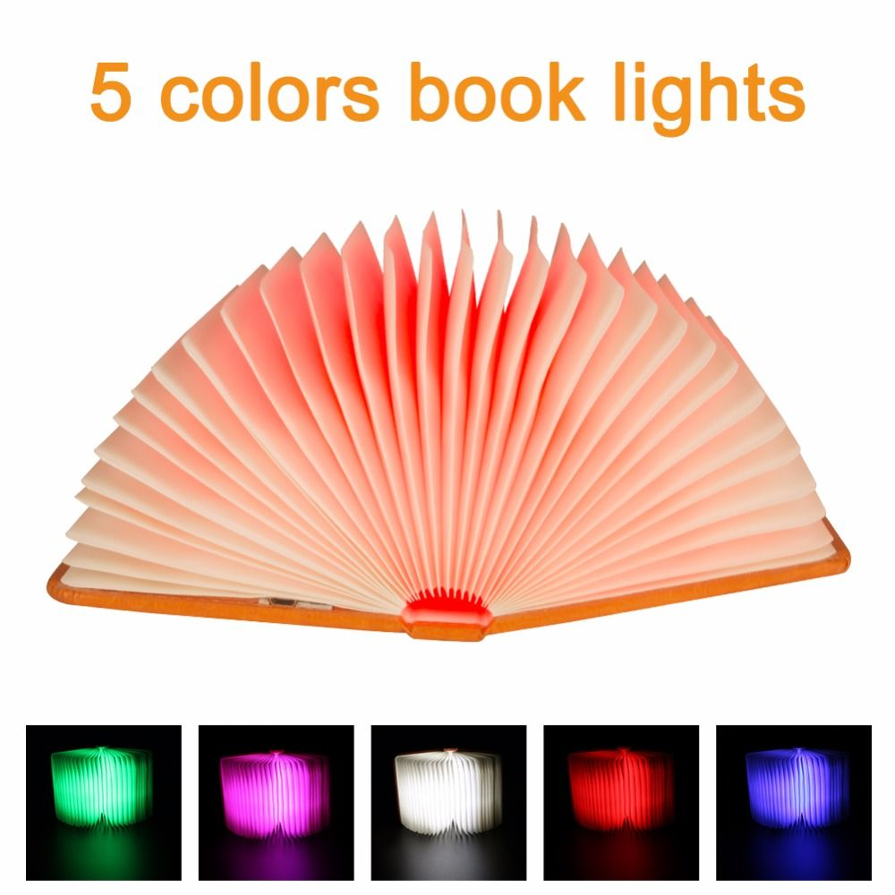 Creative Foldable Pages Folding Led Book Shape Night Light Lighting Lamp Portable Booklight Usb Rechargeable <font><b>Table</b></font> Book Light