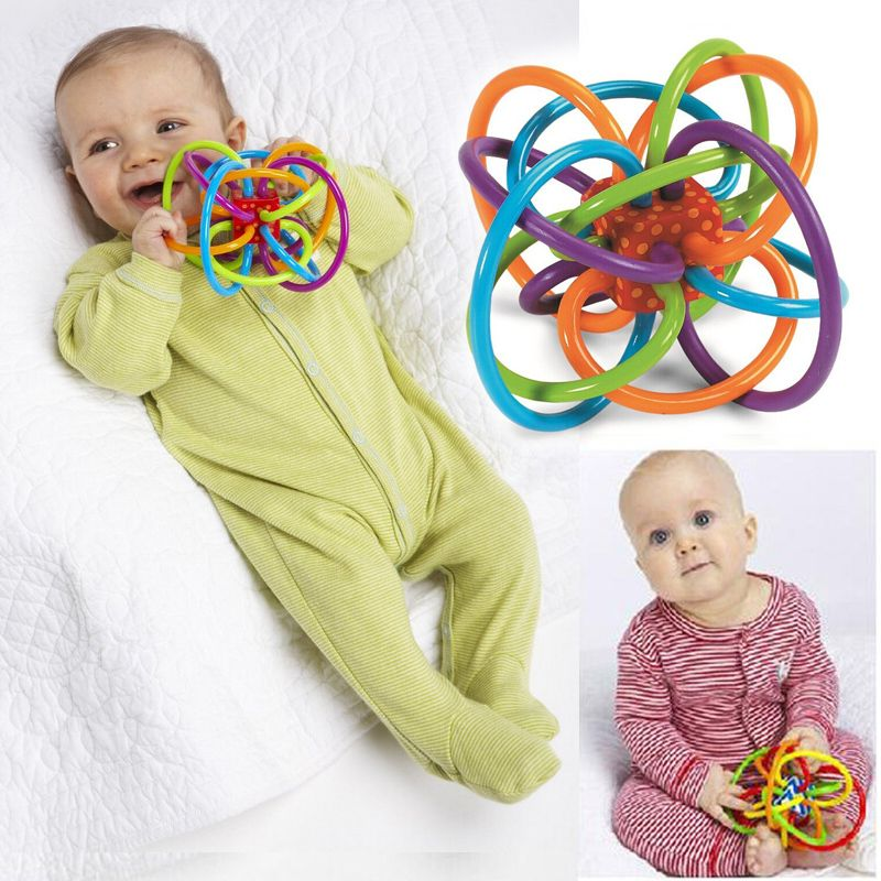 0-12 Months Baby Toy Baby Ball Toy Rattles Develop Baby Intelligence Baby Toys Plastic Hand Bell Rattle WJ266