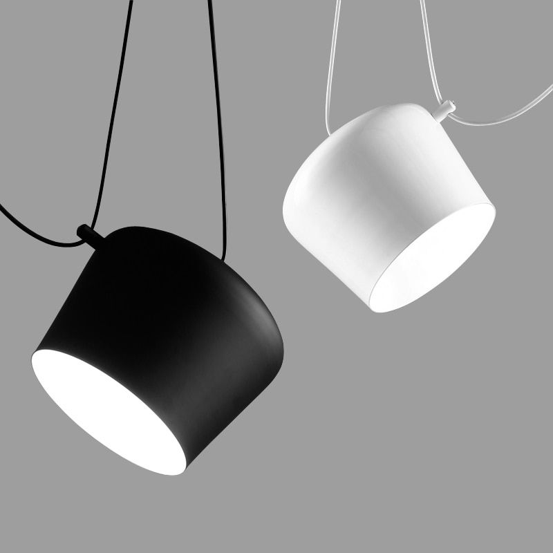 Fashion Nordic Tabour Pendant Light Aluminum E27 110V - 220V for decor Hanging Light Fixture DIY Luminaire White/Black LampShade