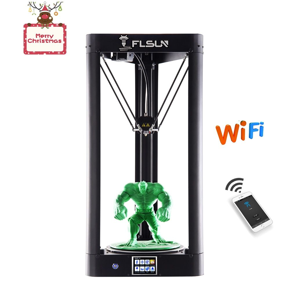 FLSUN QQ 3d Printer Kossel 2018 Pre-assembled Delta Large Size Auto-level Touch Screen WIFI Remote Control Hot Bed Filament