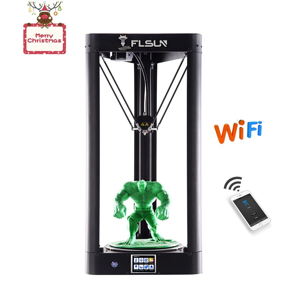 FLSUN QQ Kossel 2018 Pre-assembled Delta 3d Printer Large Size Auto-level Touch Screen WIFI Remote Control Hot Bed Filament