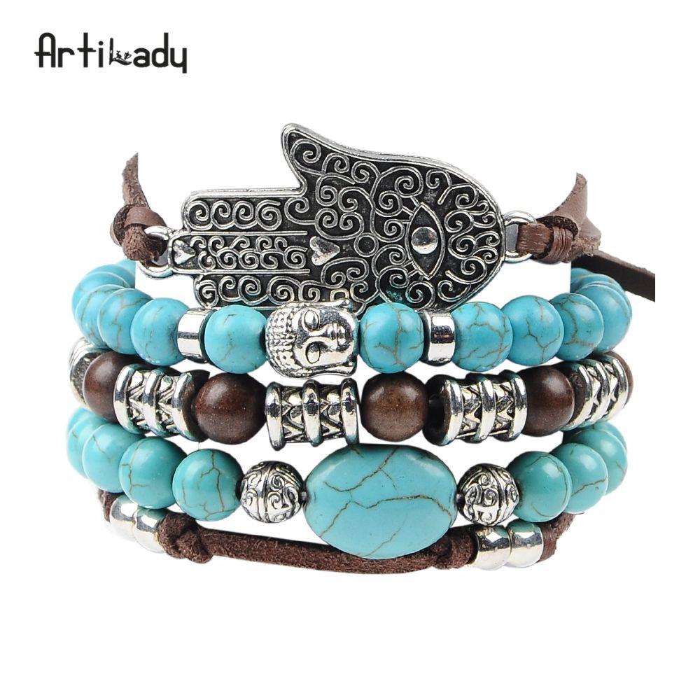 Artilady nouveau hamsa main 5 pcs ensemble en cuir bracelets boho bleu pierre bracelet ensemble pour déclaration femmes bijoux parti cadeau