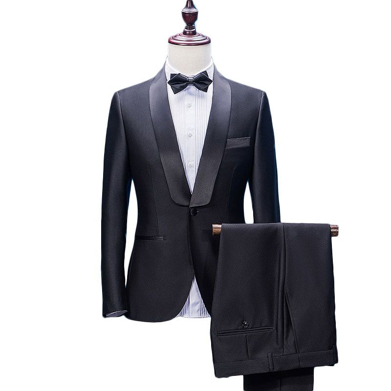 New Arrival Shawl Lapel 2 Pieces Black Groom Tuxedos Wedding Suits for Men (Jacket+Pants+Bowtie) Groomsman Suits Formal Suits