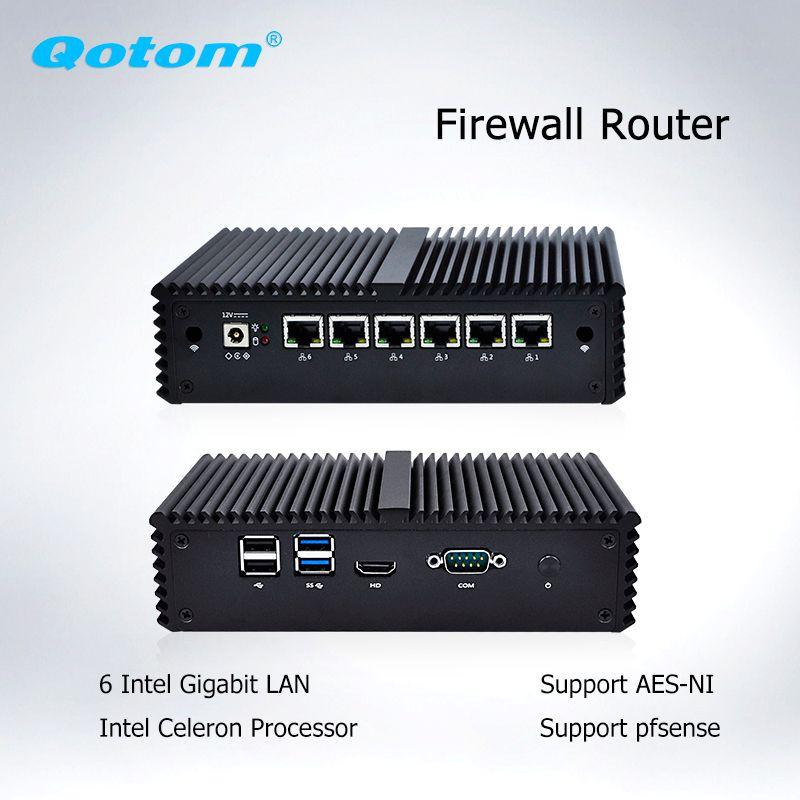 Qotom Mini PC 6 LAN Firewall Router Server Industrial micro pc celeron core i3 i5 i7 vPro AES-NI Fanless pfsense Mini Computer